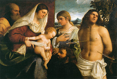The Holy Family with St Catherine, St Sebastian and a Donor Sebastiano del Piombo